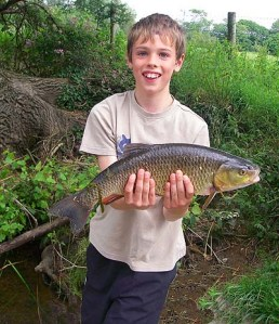 Grandson Ben with a good, plug caught chub