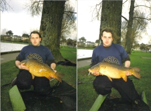 23lb common and 20lb mirror on Session bait liver and garlic mix