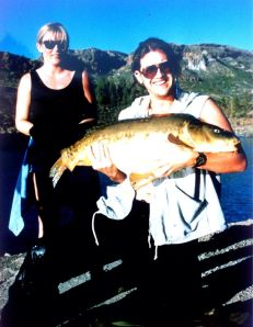 My now wife and a 35lb Chira carp – 1994.