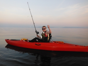 Anybody can kayak fish - a friend on her first fishing trip