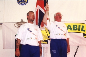 Proudly singing the national anthem with Steve Briggs after our first world cup win in 2000.