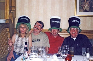 Silly…' as Micky Sly would say. With Micky, his partner Jean, and Simon Horton during one of our Irish visits.