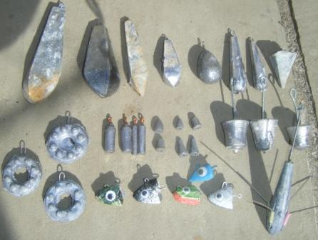 A selection of various freshly made leads and leadheads
